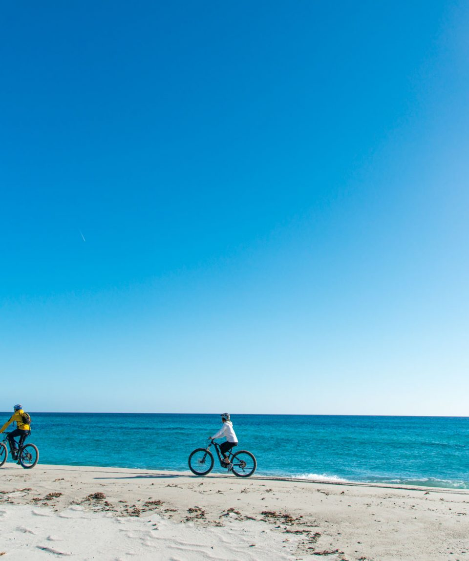 On our bikes along the beaches of the Oasis Bidderosa